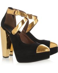 Marni Gold-Trimmed Suede Pumps - Lyst