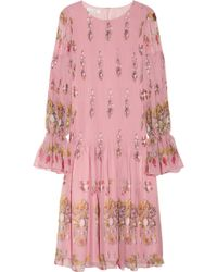 Oscar de la Renta Printed Silkchiffon Dress - Lyst