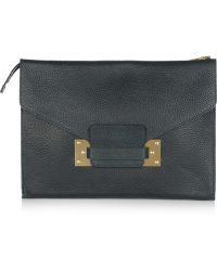 Sophie Hulme Envelope Oversized Textured Leather Clutch - Lyst