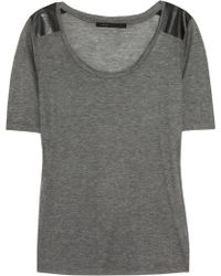 Victoria Beckham Faux Leatherpaneled Finejersey Tshirt - Lyst
