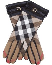 Burberry Checked Glove black - Lyst