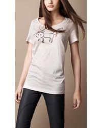 Burberry Fox Graphic Cotton Tshirt - Lyst