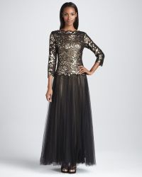 Tadashi Shoji Three Quarter Sleeve Gown with Tulle Skirt - Lyst