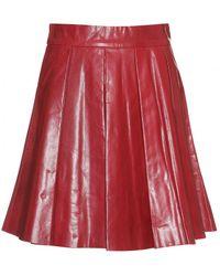 Alice + Olivia Box Pleat Leather Skirt purple - Lyst