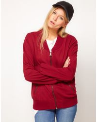 ASOS Collection Red  Sweat Bomber - Lyst