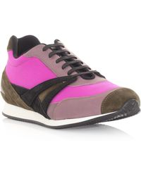 Balenciaga Leather and Fabric Trainers purple - Lyst
