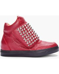 Jeffrey Campbell - Red Prism Studded Sneakers - Lyst