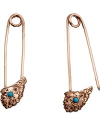 L'Agence Turquoise Cosmic Stone Safety Pin Earrings pink - Lyst