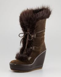 Moncler | Mayrhofen Beaver Wedge Boot Militaire | Lyst