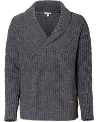 Burberry Brit - Dark Grey Heather Wool Shawl Collar Pullover - Lyst