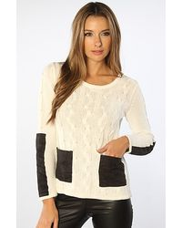 MINKPINK The Nerdlinger Tunic Jumper in Off White and Black - Lyst