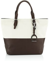 Ralph Lauren Blue Label Canvas and Leather Saddle Tote - Lyst