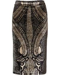Etro Beigeblack Velvet Skirt - Lyst