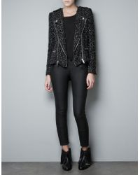 Zara Fantasy Fabric Blazer with Zips black - Lyst