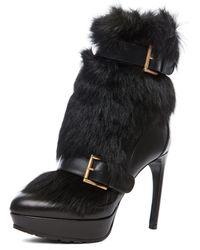 Alexander McQueen Long Hair Heel in Black - Lyst