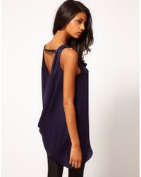 ASOS Collection Asos Top with Draped Asymmetric Cowl Back purple - Lyst