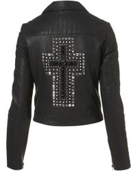 Topshop Cross Embellished Biker Jacket - Lyst
