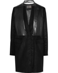 Alexander Wang Leatherpaneled Brushedsateen Coat - Lyst
