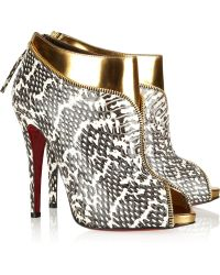 Christian Louboutin  Leather and Water Snake Ankle Boots gold - Lyst