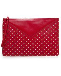 Mango Touch Leather Clutch Bag - Lyst