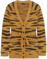 Mulberry Tigerprint Angorablend Belted Cardigan - Lyst
