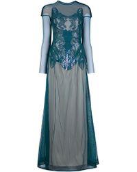 Marios Schwab Sequinned Long Dress green - Lyst