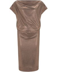Vivienne Westwood Anglomania Copper Boudicca Metallic Jersey Dress - Lyst
