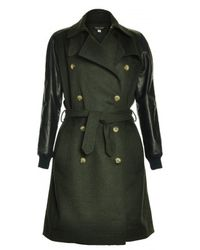 Sophie Hulme    Leather Sleeve Wool Trench Coat    Lyst