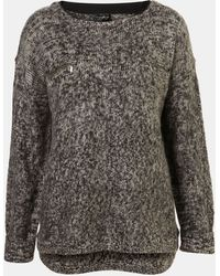 Topshop Fuzzy Zip Pocket Sweater - Lyst