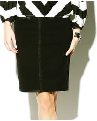 Vince Camuto Faux Leather Trim Skirt - Lyst