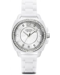 COACH - Boyfriend Crystal Stainless Steel Rubber Strap Watch - Lyst