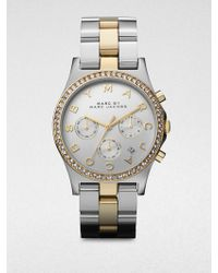 Marc By Marc Jacobs Henry Glitz Two-Tone Stainless Steel Chronograph Watch silver - Lyst