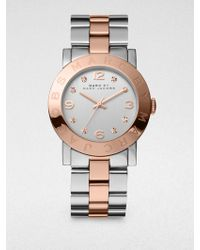Marc By Marc Jacobs Amy Glitz Two-Tone Stainless Steel Bracelet Watch silver - Lyst