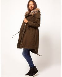 ASOS Collection Asos Longline Wed Parka brown - Lyst