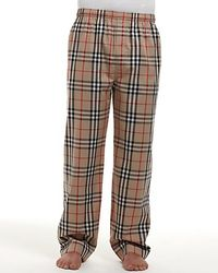 Burberry Check Woven Pajama Pants beige - Lyst