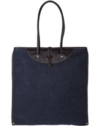 Calabrese Bags Navy Rotolo Boiled Wool Tote Bag - Lyst