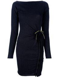 Class Roberto Cavalli Ruffle Detail Dress black - Lyst