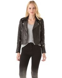 Rebecca Minkoff Theo Studded Leather Jacket black - Lyst