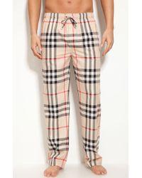 Burberry Check Print Pajama Pants beige - Lyst
