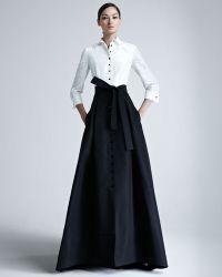 Carolina Herrera Shirtwaist Taffeta Ball Gown black - Lyst