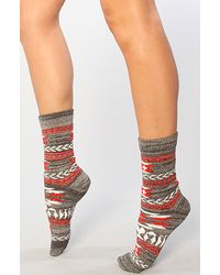 Free People The Southwestern Boot Socks red - Lyst