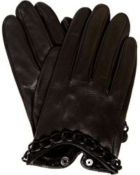 Label Lab - Chain Detail Leather Gloves - Lyst