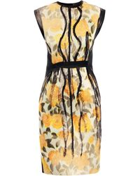 Lanvin Painted Floralprint Dress - Lyst