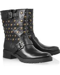 MICHAEL Michael Kors Studded Leather Biker Boots - Lyst