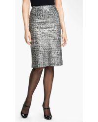 Nic + Zoe Glitter Print Pencil Skirt silver - Lyst