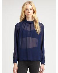 BLK DNM Silk Blouse blue - Lyst