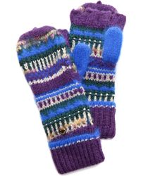 Juicy Couture - Luxe Mixed Yarn Pop Top Mittens - Lyst