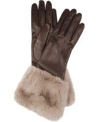Miu Miu - Rabbittrimmed Leather Gloves - Lyst