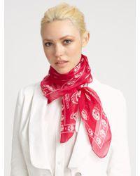 Alexander McQueen Classic Silk Chiffon Skull Scarf red - Lyst