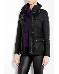 Belstaff Black Dampury Wax Coated Quilted Jacket - Lyst